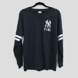 PINK Victoria's Secret NY Yankees Varsity Crew Tee